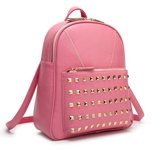gold rivets light pink backpack edgability