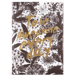 foliage leafage print with gold foil notebook edgability