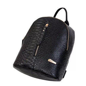 black mini backpack croc skin bag edgability top view