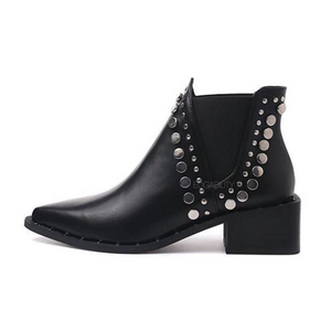 black ankle booties with rivets edgability side view