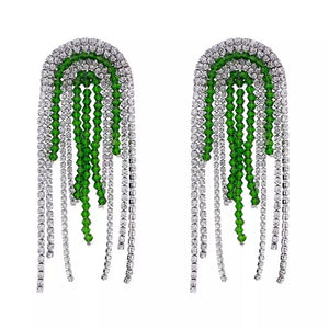 emerald green silver crystals statement earrings edgability