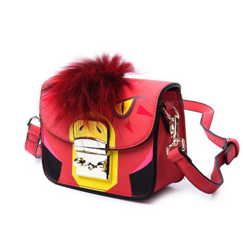 red furry animated printed handbag side view edgability