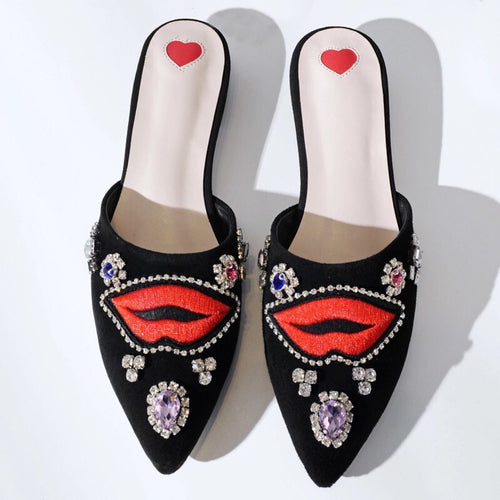 black flats with red lips and crystal stones top view edgability