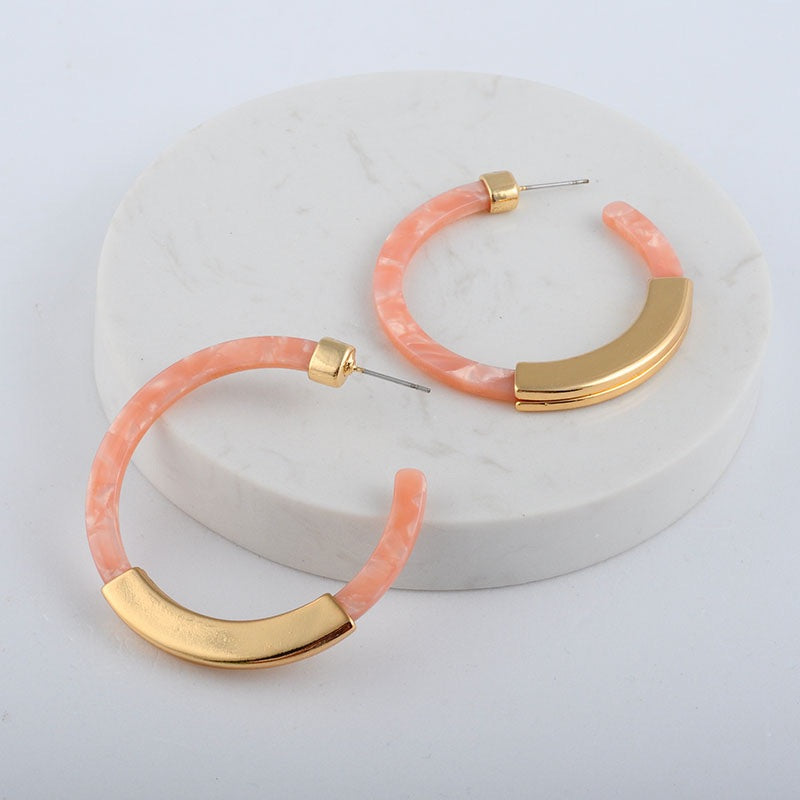 marble earrings gold hoops pink earrings edgability