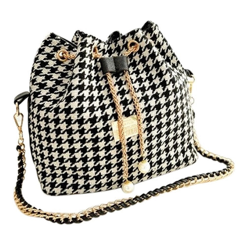 houndstooth drawstring bag bucket bag edgability