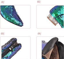 metallic blue green sequins ankle boots edgability detail view