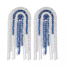blue silver studs statement earrings trendy jewellery edgability