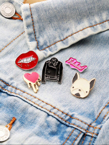 brooch set of leather jacket lips heart pup fab model view edgability
