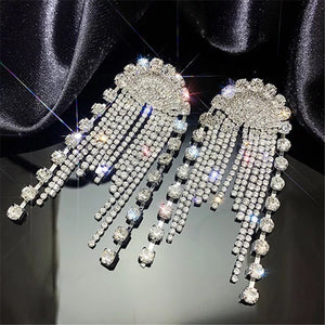 crystal studded chandelier statement earrings edgability top view