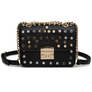 silver gold studded black bag with chain strap edgability