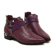 flat croc skin ankle boots edgability front view