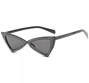 black shades sparkly sunglasses retro sunglasses edgability angle view