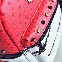 marble red backpack studded bag edgability detail view