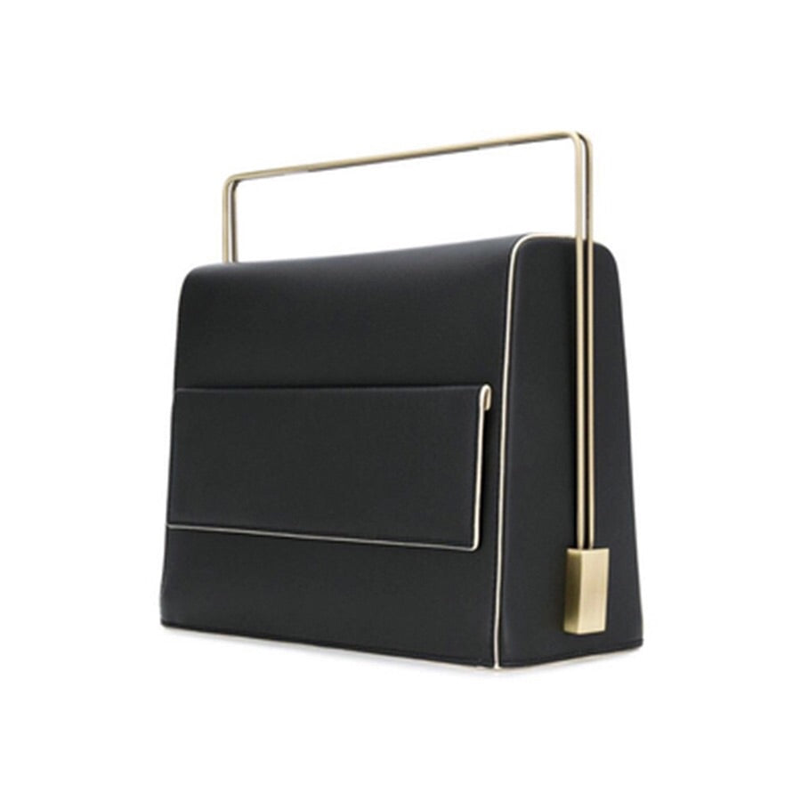 sleek matte black classy bag with metal handle edgability