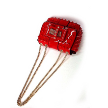 studded bag red sling bag edgability top view