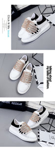quirky embroidered white sneakers with crystals edgability top view