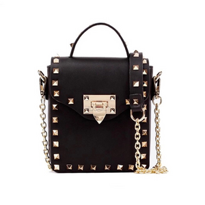 golden studded black mini bag with chain front view edgability