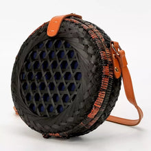 round black rattan bag travel style edgability front view