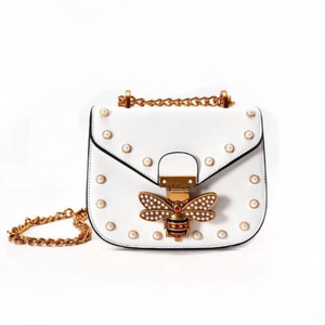 pearl studded butterfly white bag edgability