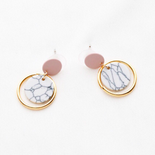 pink drop white marble earrings with golden hoop edgability