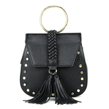 studded black bag with tassels edgability