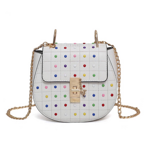 multicoloured studded bag classy bag edgability