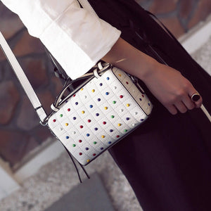 studded bag in white edgability model view