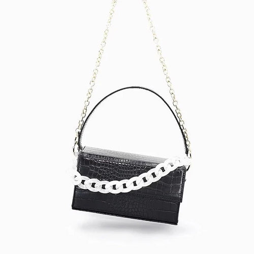 black croc skin clutch box bag with white chain edgability