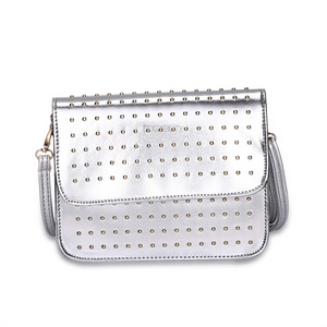 crossbody silver micro studded silver bag edgability