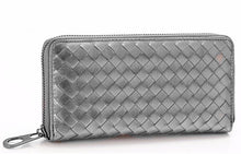 woven silver wallet trendy accessories edgability angle view