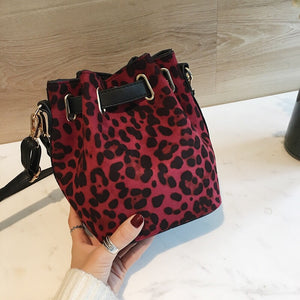 leopard print red bag drawstring bucket bag edgability back view
