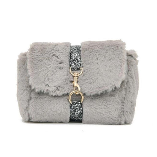 glitter strap grey fur bag edgability