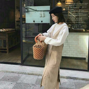 bucket bag basket drawstring bag brown bag edgability model view