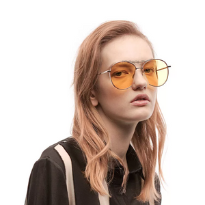 yellow vintage sunglasses model view edgability