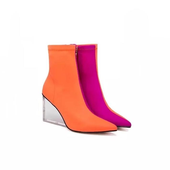 orange pink ankle boots edgy shoes edgability