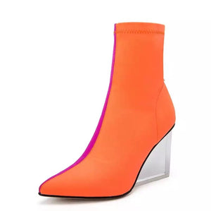 orange pink ankle boots edgy shoes edgability angle view