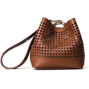brown handbag bucket bag edgability