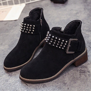 black boots with rivets edgability angle view