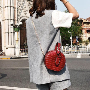 round bag box bag sling bag croc skin bag edgability model view