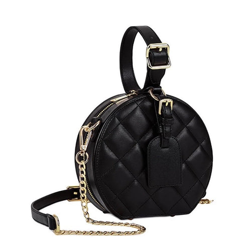 quilted round black bag box bag with top handle edgability