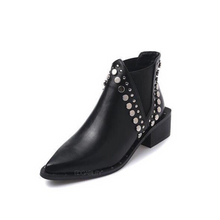 black ankle booties with rivets edgability