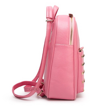 gold rivets light pink backpack side view edgability