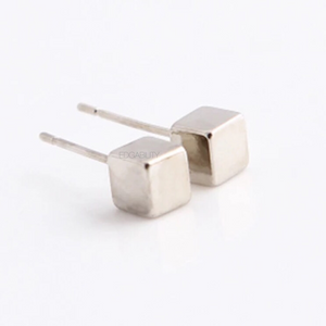 tiny cube silver earrings edgability