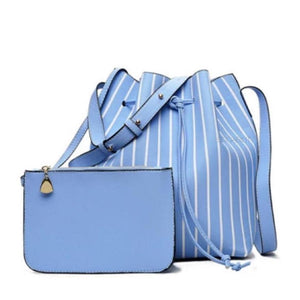 striped blue drawstring bucket bag edgability