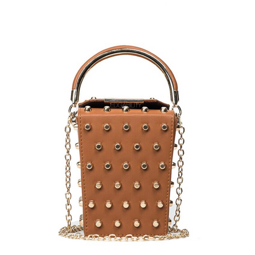 studded bag box bag tan bag edgability
