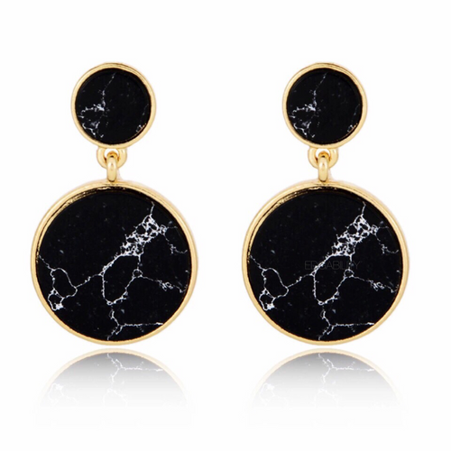 black marble print drop earrings front view edgability