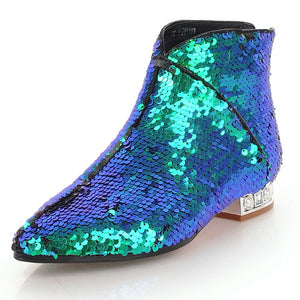 metallic blue green sequins ankle boots edgability