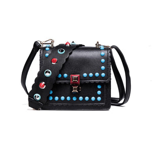 black bag blue studded bag sling bag edgability