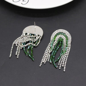 emerald green silver crystals statement earrings edgability bottom view