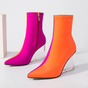 orange pink ankle boots edgy shoes edgability side view